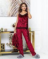 Красивый женский бархатный комплект тройка пижама маечка штаны и халат с кружевом бордовый 44 46 48 50