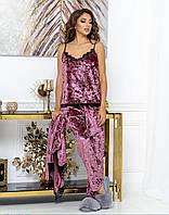 Красивый женский бархатный комплект тройка пижама маечка штаны и халат с кружевом сухая роза 44 46 48 50, фото 1