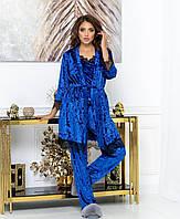 Красивый женский бархатный комплект тройка пижама маечка штаны и халат с кружевом синий электрик 44 46 48 50