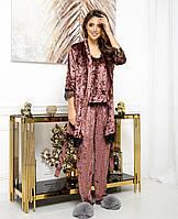 Красивый женский бархатный комплект тройка пижама маечка штаны и халат с кружевом шоколад 44 46 48 50, фото 1