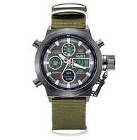 Часы Мужские AMST 3003 Black-Black Green Военные, Армейские, тактические,  Тканевый ремешок-нейлон