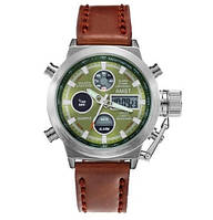 Часы Мужские AMST 3003A Silver-Green-Brown Военные, Армейские, тактические,  Коричневый ремешок