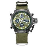 Часы Мужские AMST 3003 Black-Green Green Военные, Армейские, тактические,  Зеленый ремешок