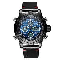 Часы Мужские AMST 3022P Black-Silver-Blue, Военные, Армейские, тактические, Черный ремешок