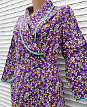 Теплый фланелевый халат на запах 60 размер Фиолет, фото 4