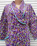 Теплый фланелевый халат на запах 60 размер Фиолет, фото 5