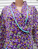 Теплый фланелевый халат на запах 60 размер Фиолет, фото 6