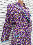 Теплый фланелевый халат на запах 60 размер Фиолет, фото 7