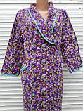 Теплый фланелевый халат на запах 60 размер Фиолет, фото 8