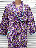 Теплый фланелевый халат на запах 60 размер Фиолет, фото 9