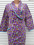 Теплый фланелевый халат на запах 60 размер Фиолет, фото 10