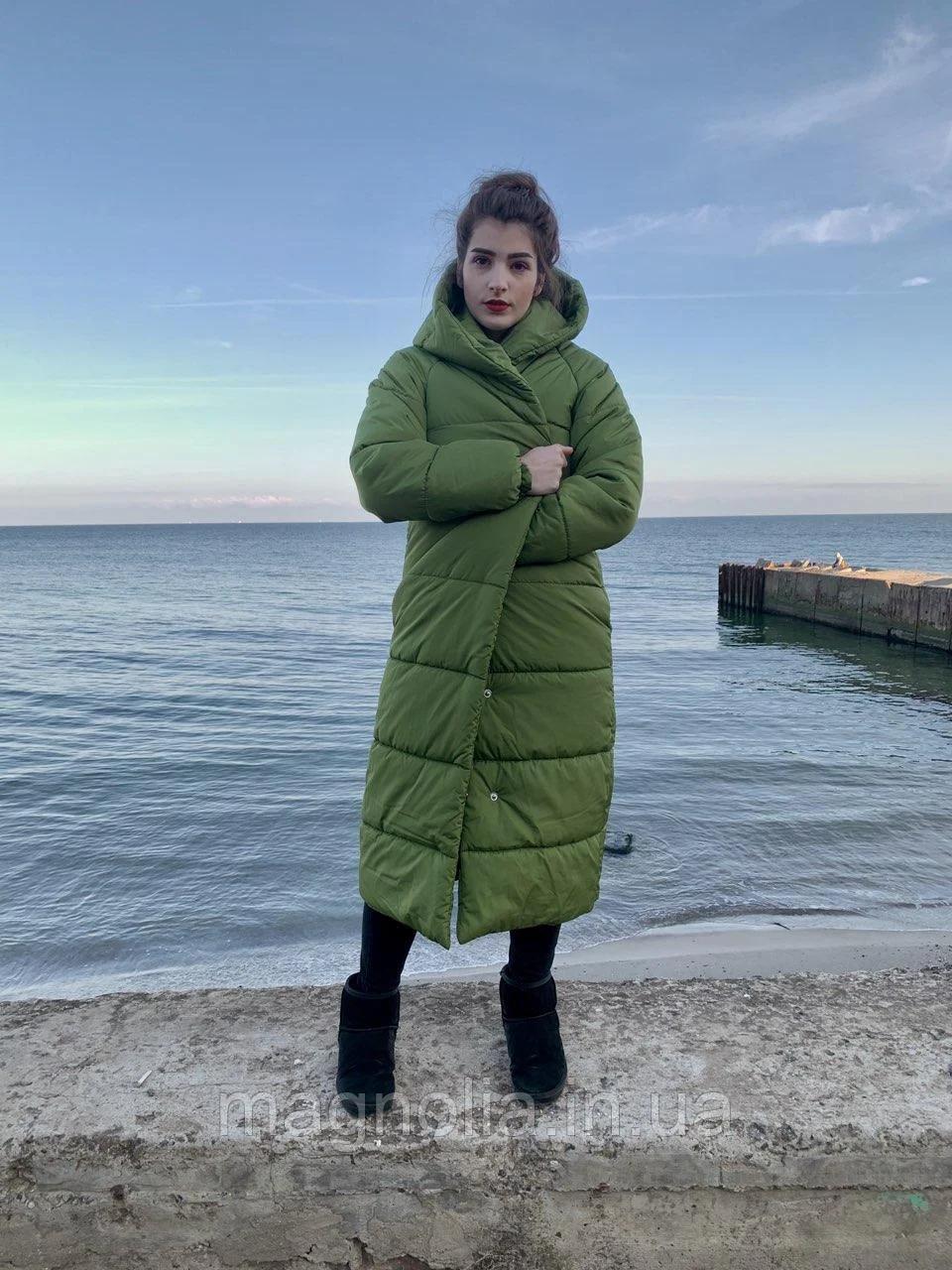 Зимняя теплая длинная  куртка пальто пуховик оверсайз одеяло с капюшоном плащевка + силикон 50-52