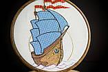 Вышитая картина в пяльцах с корабликом, фото 8