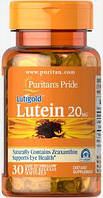 Лютеин Puritans Pride Lutein 20 mg 30 softgels Лютеїн
