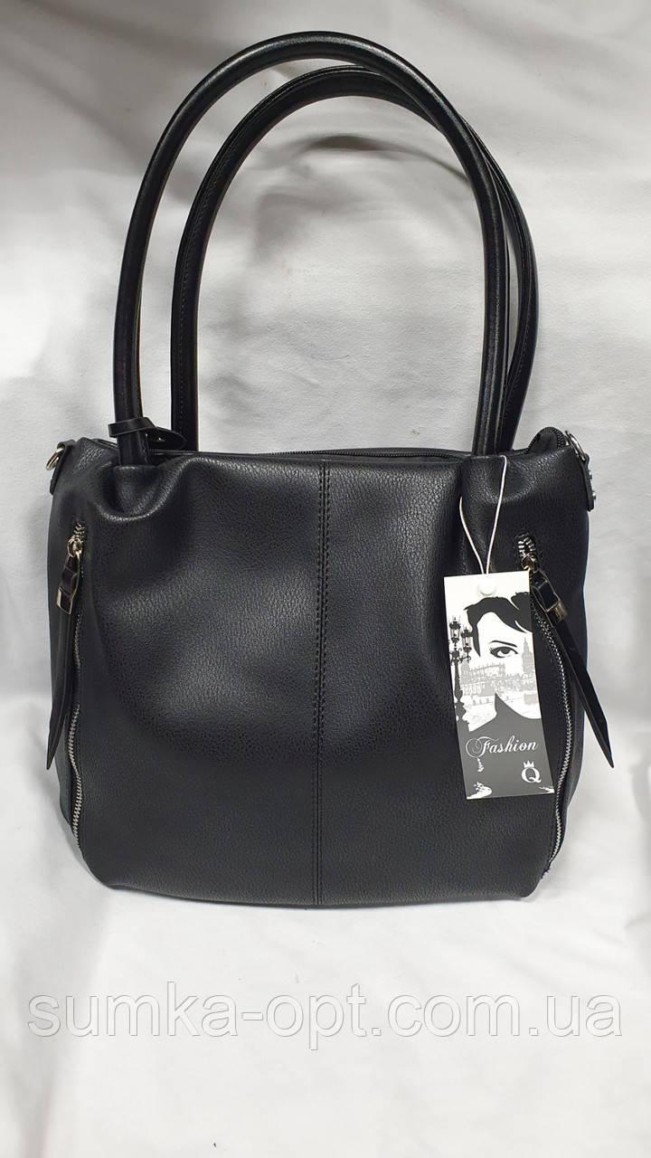 Качественные женские сумки Премиум Класса 2отд (ЧЕРНЫЙ)30*27см