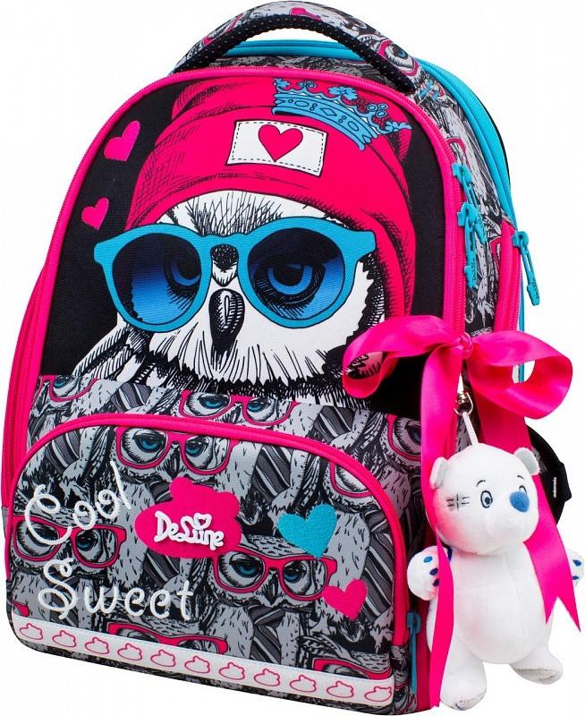 Шкільний ранець в 1-4 клас рюкзак для дівчинки в комплекті смєнка і пенал Сова DeLune 10-003