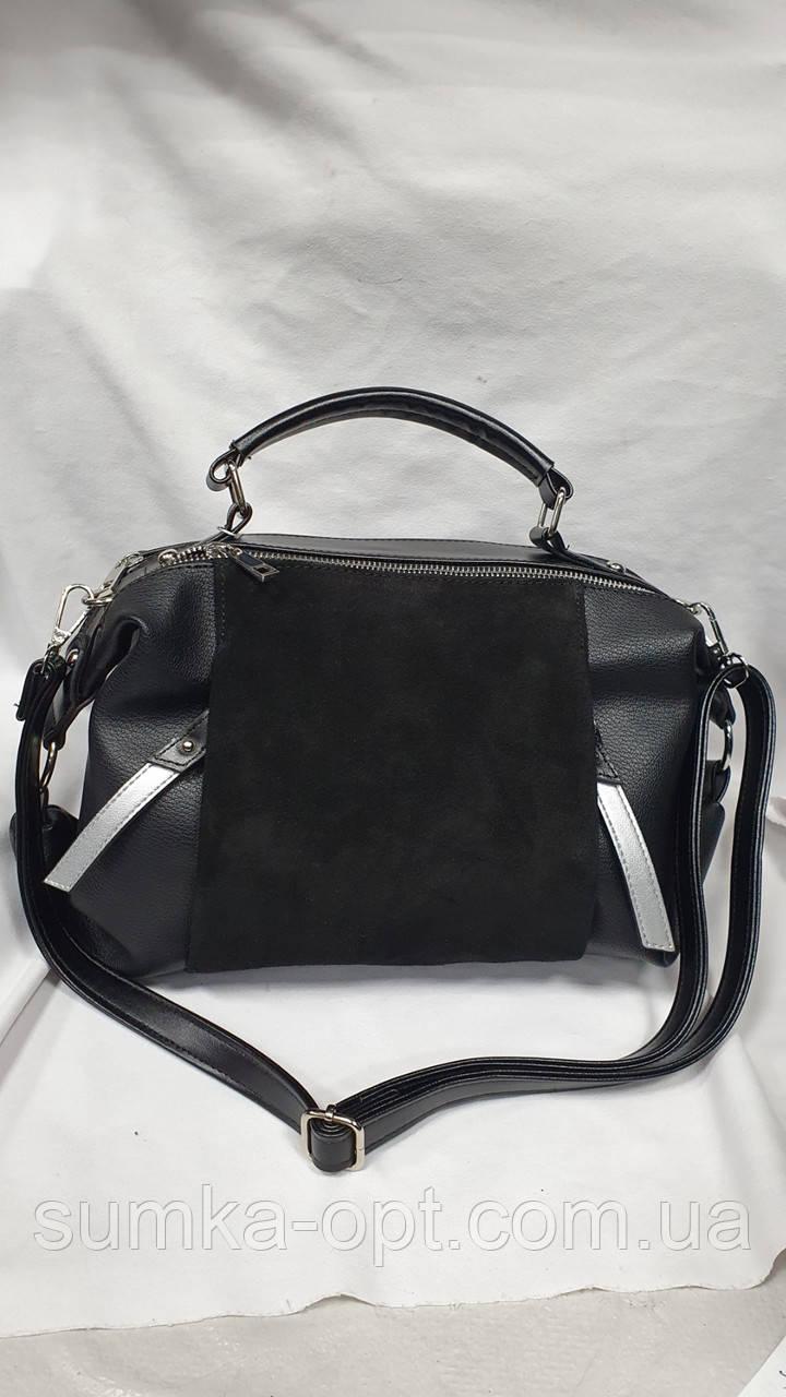 Женские сумки замша Китай (ЧЕРНЫЙ ЗАМША)28*20см