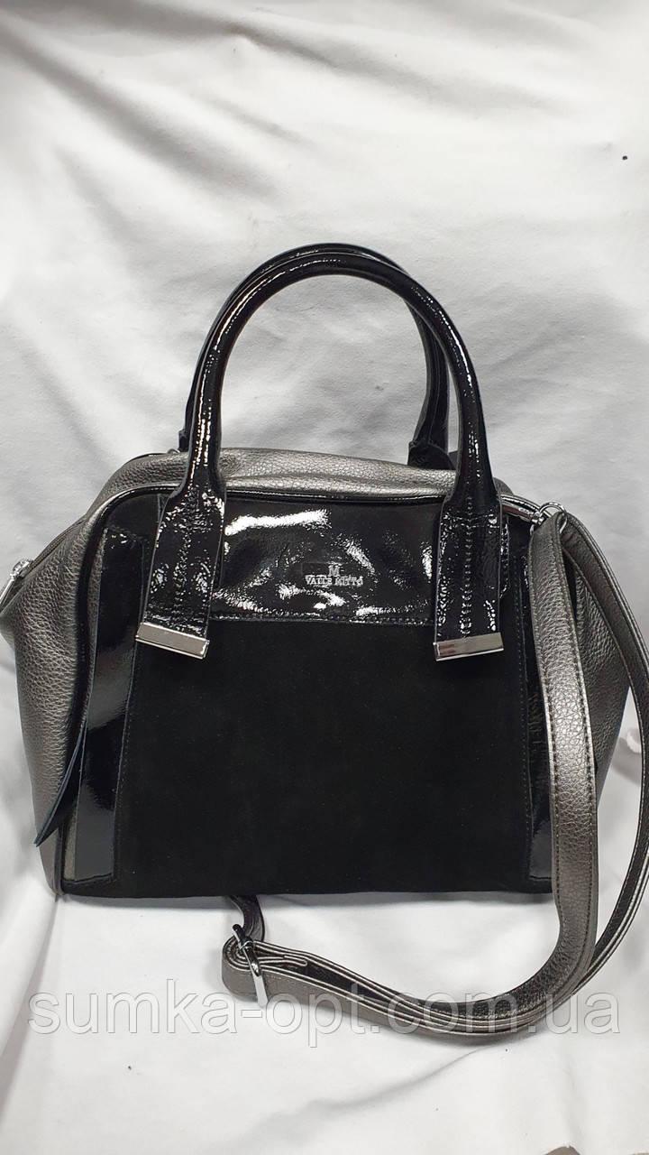 Замшевые комбинированные сумки Китай (ЧЕРНЫЙ ЗАМША)30*24см