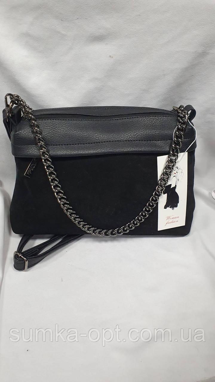 Замшевые сумки Китай (ЧЕРНЫЙ ЗАМША)30*20см