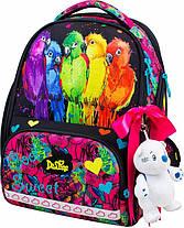 Школьный ранец в 1-4 класс рюкзак для девочки в наборе сменка и пенал Попугайчики DeLune 10-004, фото 2