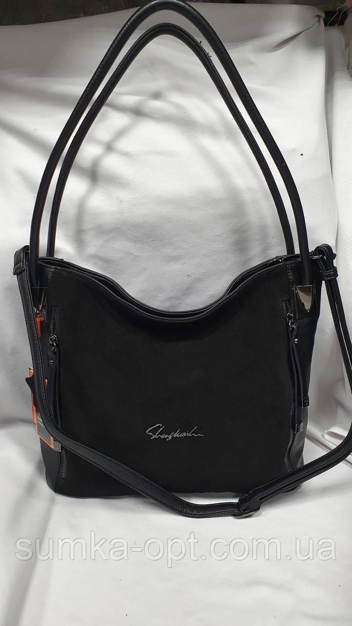 Женские сумки замша Китай (ЧЕРНЫЙ ЗАМША)34*30см