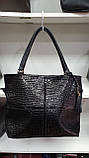 Качественные женские сумки Премиум Класса 2отд (ЧЕРНЫЙ КМБИНИРОВАН)38*29см, фото 3