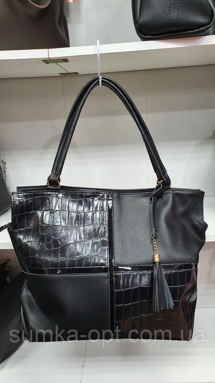 Качественные женские сумки Премиум Класса 2отд (ЧЕРНЫЙ КМБИНИРОВАН)38*29см