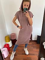 Женское стильное вязаное платье с капюшоном размер 42-52, цвет уточняйте при заказе, фото 1