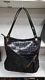 Комбинированные замшевые сумки Китай (ЧЕРНЫЙ ЗАМША)35*33см, фото 2