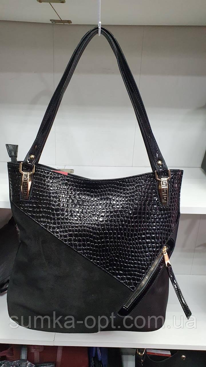Комбинированные замшевые сумки Китай (ЧЕРНЫЙ ЗАМША)35*33см