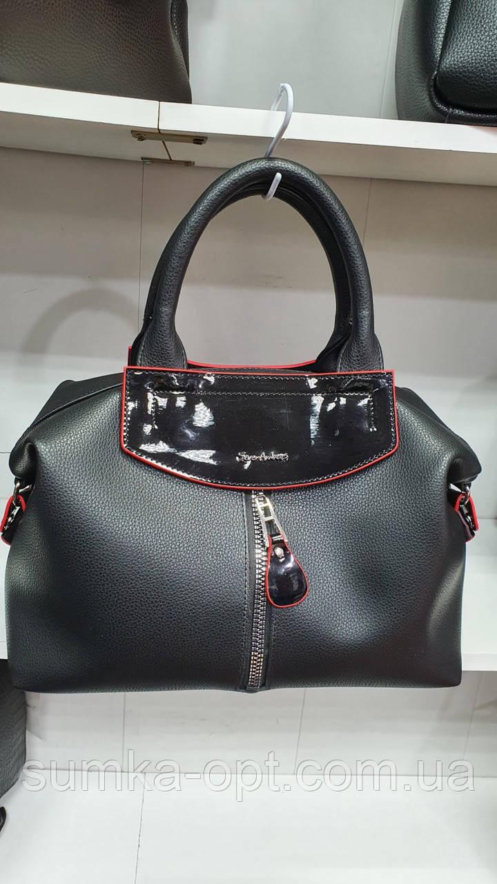 Качественные женские сумки Премиум Класса 2отд (ЧЕРНЫЙ+КРАСН)36*22см