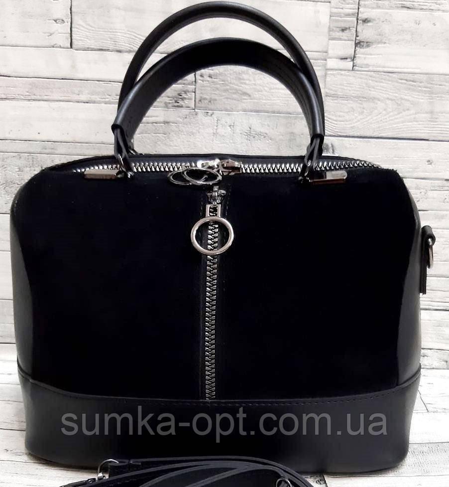 Комбинированные замшевые сумки Китай (ЧЕРНЫЙ ЗАМША)24*19см