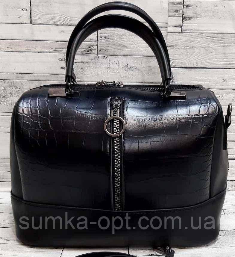 Женские стильные сумки (В ЧЕРНОМ КРОКОДИЛ)24*19см