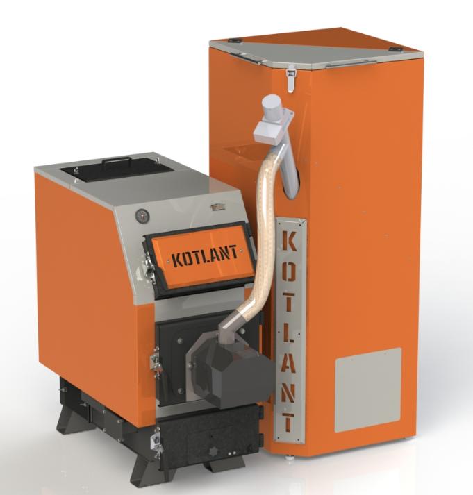 Твердотопливный котел КВУ Pellets 50 кВт с пеллетной факельной горелкой OXI и бункером для горючего