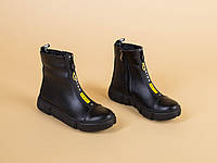 Демисезонные черные кожаные ботиночки для девочки