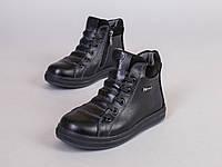 Демисезонные черные кожаные ботиночки, 32