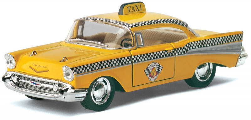 Машинка Kinsmart HU KT5360W Chevrolet Bel Air Taxi, масштаб 1:40, фото 2
