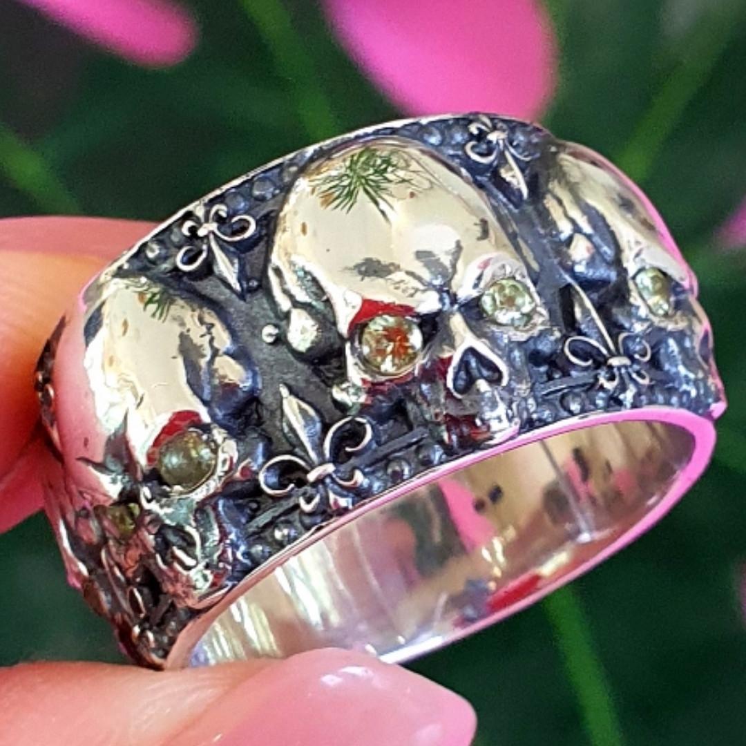 Серебряное кольцо Череп - Кольцо с черепом серебро - Байкерское кольцо Черепа серебро