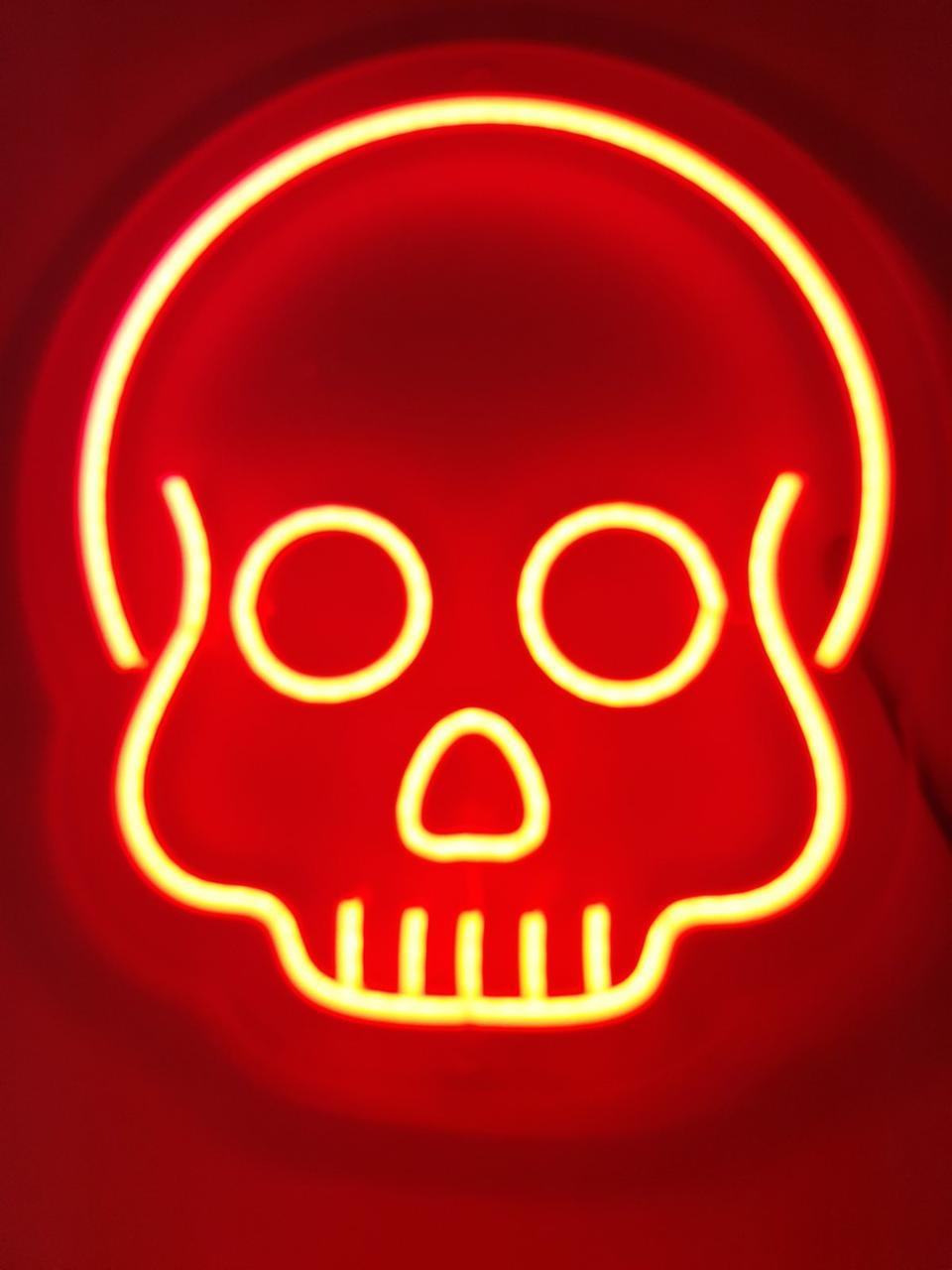 Неоновые надписи настенный светильник из гибкого неона SKULL 30х30см