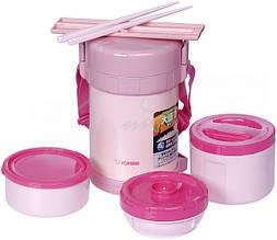 Набір для ланчу Zojirushi SL-GH18PA (3 контейнера + палички), рожевий