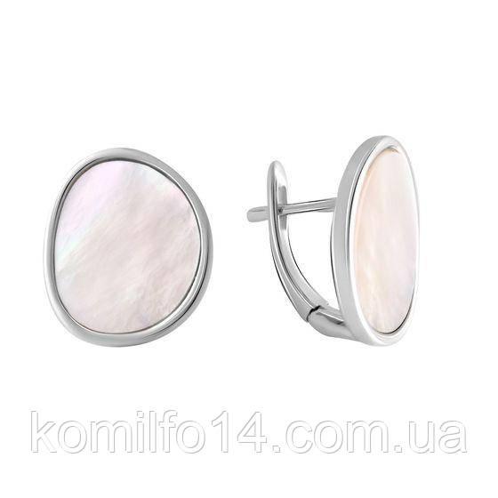 Серебряные серьги с натуральным перламутром