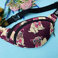 Детская сумка на пояс или на плечо бананка  для девочек французский бульдог