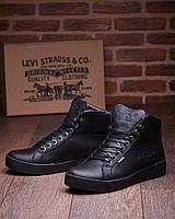Кожаные зимние ботинки кроссовки на меху Levis Oregon, фото 1