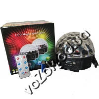 Светодиодный диско шар светомузыка MP3 LED Magic Ball Light М6 с пультом и USB флешкой
