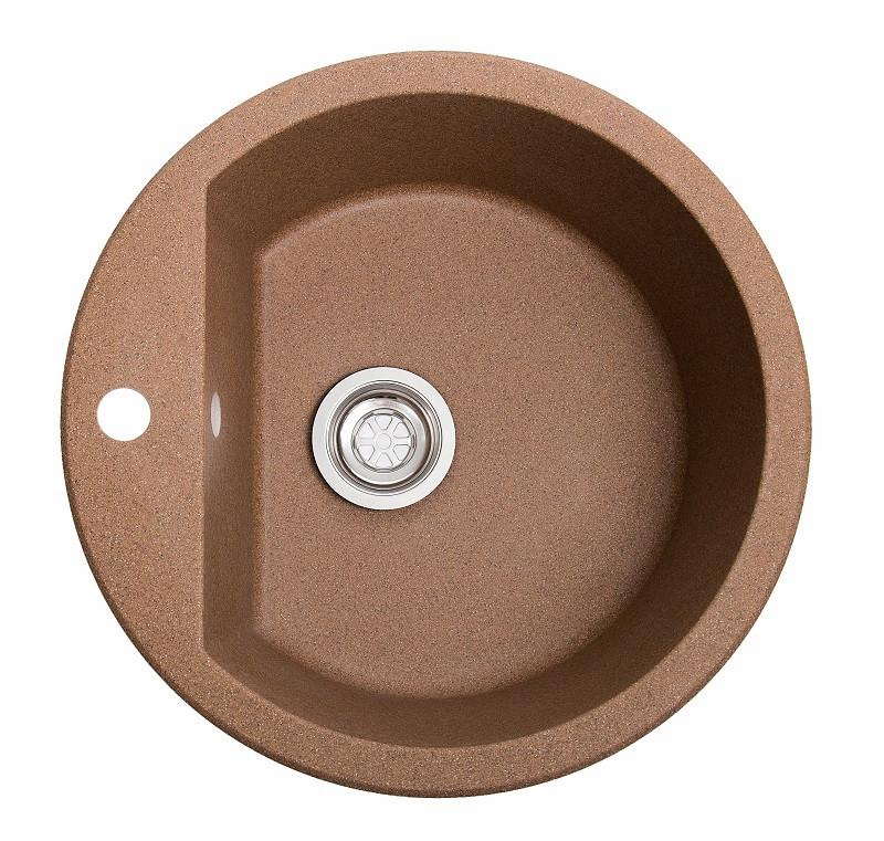 Кухонная каменная мойка Solid Раунд терракот ( гранит ) 51x51
