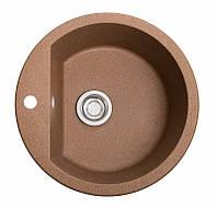 Кухонная каменная мойка Solid Раунд терракот ( гранит ) 51x51, фото 1