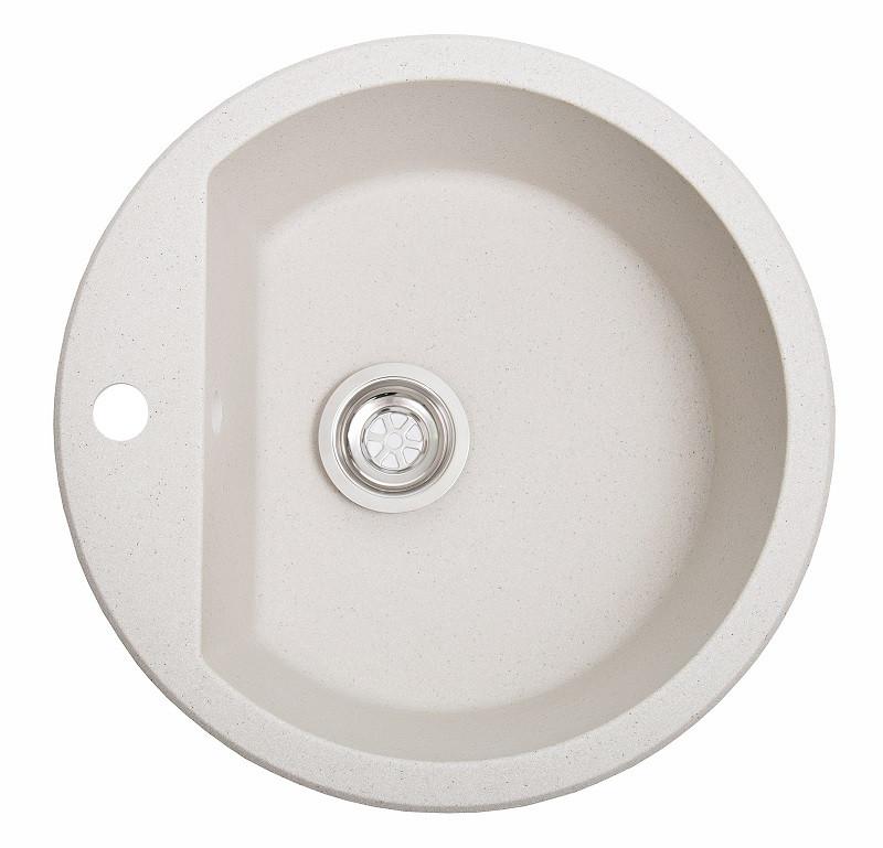 Кухонная гранитная мойка Solid Раунд белый 51x51