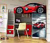 """Кровать чердак  """" BMW красный """" + цельная наклейка на шкаф"""