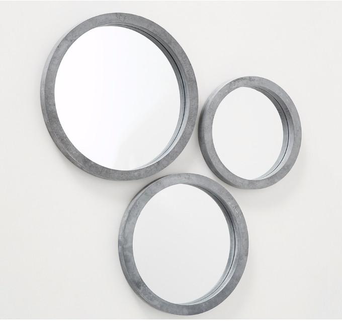 Набор 3-х зеркал «Брест» серый МДФ d25-35см