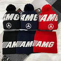 "Набор (шапка+баф)  чёрного цвета ""AMG"""